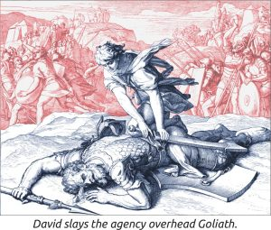 David slays the agency overhead Goliath