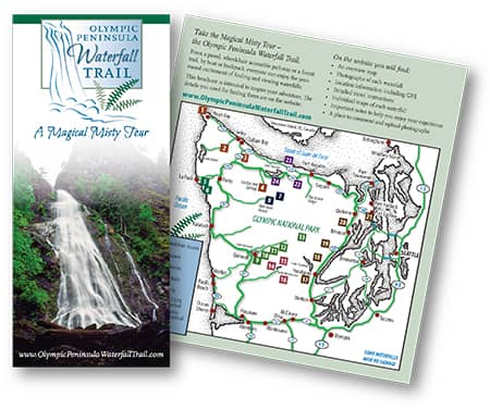 Olympic Peninsula Waterfall Trail brochure by Laurel Black Design
