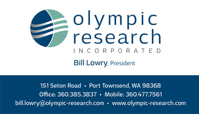 Olympic Research, Inc. business card by Laurel Black Design