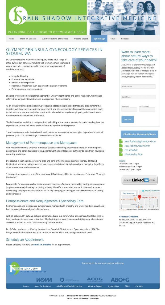 Rain Shadow Integrative Medicine website